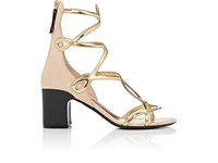 Fabrizio Viti Women's Round 'N Round Leather And Suede Sandals Beige Gold Beige Gold