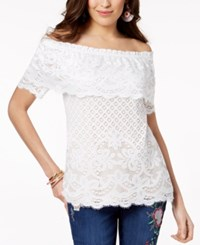 Thalia Sodi Off The Shoulder Lace Top Washed White
