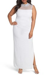 Marina Plus Size Women's Glitter Ottoman Knit Sheath Gown Silver