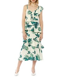 Walter Baker Palm Printed One Shoulder Ruffle Dress Butterfly