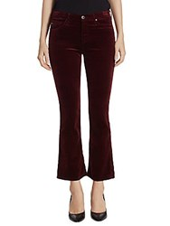 Ag Adriano Goldschmied Jodi High Rise Cropped Flare Velvet Pants Red