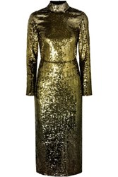 Temperley London Ruth Open Back Sequined Tulle Midi Dress Gold