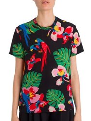 Valentino Tropical Dream Short Sleeve Silk Blouse Nero