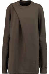 Rick Owens Folded Cotton Terry Sweatshirt Brown
