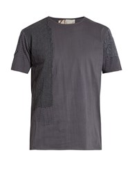 By Walid Lace Insert Cotton Jersey T Shirt Charcoal