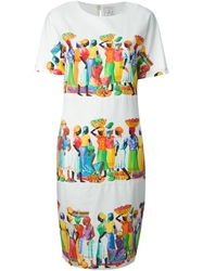 Stella Jean Tahitian Print Dress White