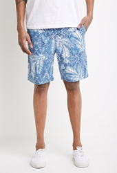 Forever 21 Abstract Palm Print Drawstring Shorts White Blue