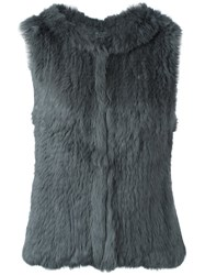 Yves Salomon Hooded Fur Vest Grey