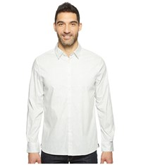 Kenneth Cole Long Sleeve Abstract Slim Print Shirt Zen Green Combo Men's Clothing White