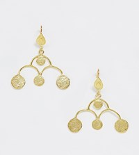 Ottoman Hands Gold Plated Coin Statement Drop Earrings