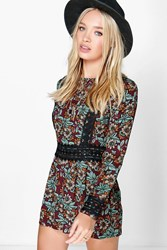 Boohoo Crochet Trim Bohemian Floral Playsuit Multi
