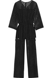 Maison Martin Margiela Checked Wool And Silk Blend Fil Coupe Jumpsuit Black