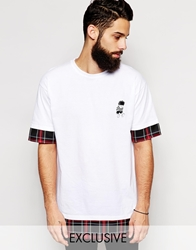 Reclaimed Vintage X The Beano T Shirt With Checked Hem Panel Black