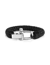 Forzieri Men's Bracelets Black Woven Rope Men's Bracelet