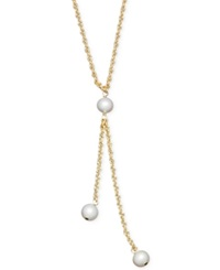 Honora Style Cultured Freshwater Pearl Rope Chain Lariat Necklace In 14K Gold 6Mm White