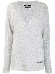 Karl Lagerfeld Rue St Guillaume Wrap Jumper Grey