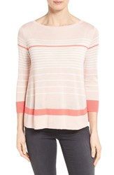 Women's Halogen Button Back Boatneck Sweater Pink Coral Colorblock Stripe