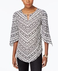 Jm Collection Printed Angel Sleeve Top Only At Macy's Reflected Black