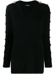 Max And Moi Buttoned Sleeves Jumper Black