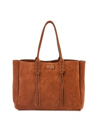 Lanvin Medium Suede Tassel Tote Bag Brown Havana