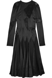 Christopher Kane Lace Paneled Silk Satin Midi Dress Black