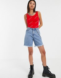 Cheap Monday Dip Bodysuit With Screen Logo Red