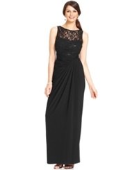 R And M Richards Sequin Illusion Lace Gown