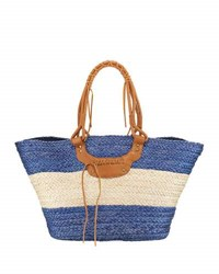 San Diego Hat Company Paperbraid Wide Striped Tote Bag Blue
