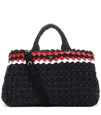 Prada Raffia Shopper Black