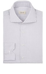 Cifonelli Men's Checked Cotton Dress Shirt Light Grey