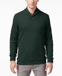 Tasso Elba Men's Big And Tall Honeycomb Textured Shawl Collar Pullover Only At Macy's Nocturnal Green