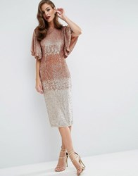 Asos Red Carpet Ombre Embellished Kaftan Midi Dress Multi