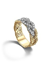 John Hardy Classic Chain 18K Yellow Gold Diamond Pave Woven Braided Band Ring White Gold