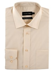 Double Two Men's King Size Long Sleeve Non Iron Poplin Shirt Cream