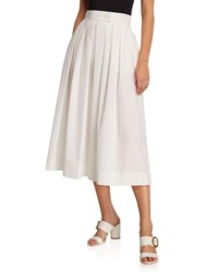 Escada Tabbed Front Full Pleated Skirt With Pockets White
