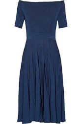 Jason Wu Off The Shoulder Ribbed Stretch Knit Dress Storm Blue