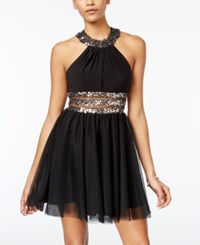 Blondie Nites Juniors' Sequin Illusion Party Dress Silver Black