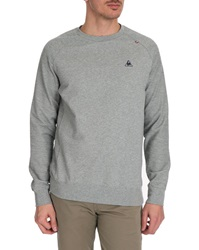 Le Coq Sportif Grey Marl Contrasting Fabric Sweater