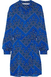 Diane Von Furstenberg Seanna Printed Stretch Silk Shirt Dress Bright Blue