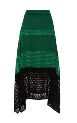 Proenza Schouler Open Stitch Midi Skirt With Handkerchief Hem Green