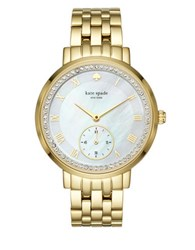 Kate Spade Classic Stainless Steel Monterey 5 Link Bracelet Chronograph Watch Gold