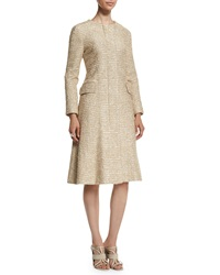 Oscar De La Renta Long Sleeve Tweed A Line Coat Pale Gold