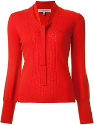 Carolina Herrera Tie Neck Jumper Red