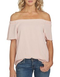 1.State Off The Shoulder Flounce Sleeve Blouse Rosy Flush