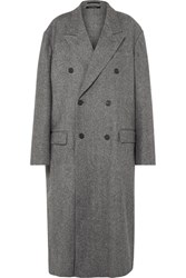 Rokh Oversized Double Breasted Wool Blend Coat Gray