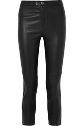 Isabel Marant Mofira Cropped Leather Skinny Pants Black