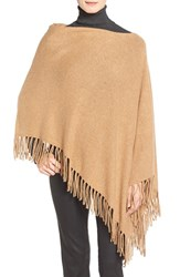 Women's White Warren Convertible Cashmere Poncho With Fringe