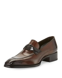 Tom Ford Gianni Twist Front Leather Loafer Brown