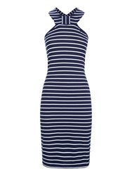 Hotsquash Thames Breton Bow Dress In Clever Fabric Navy