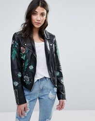 Barney's Original Embroidered Biker Jacket Black